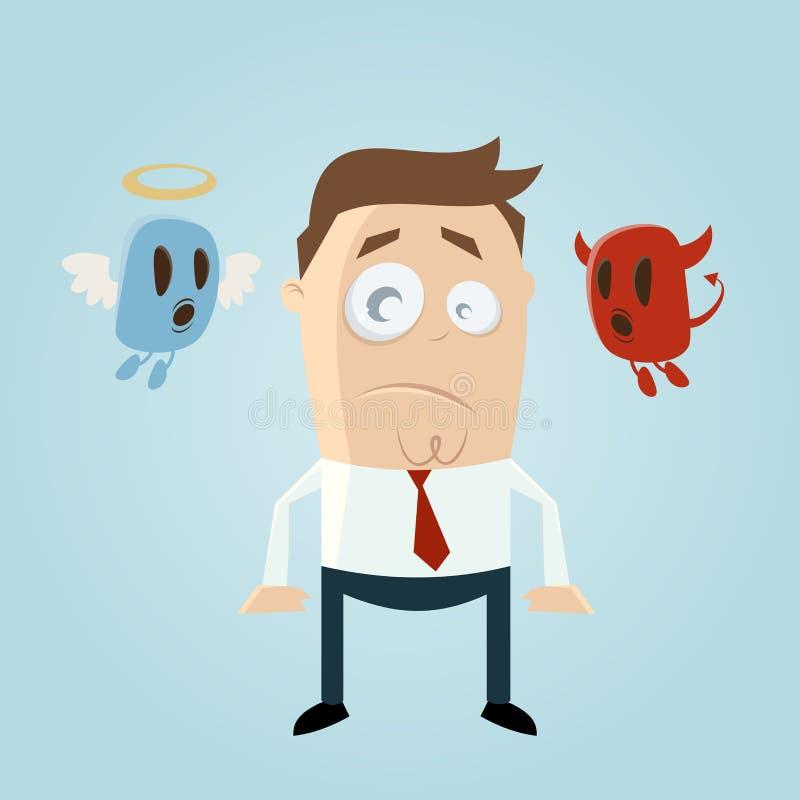 Engel en duivel die een nadenkende beeldverhaalmens beïnvloeden vector illustratie