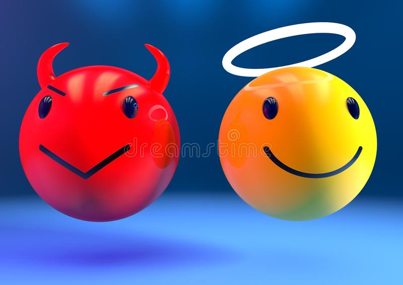 Engel en duivelsemoji stock illustratie