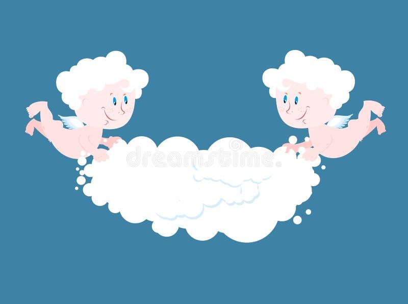Engel en wolk Twee kleine Engelen houden wolk vector illustratie