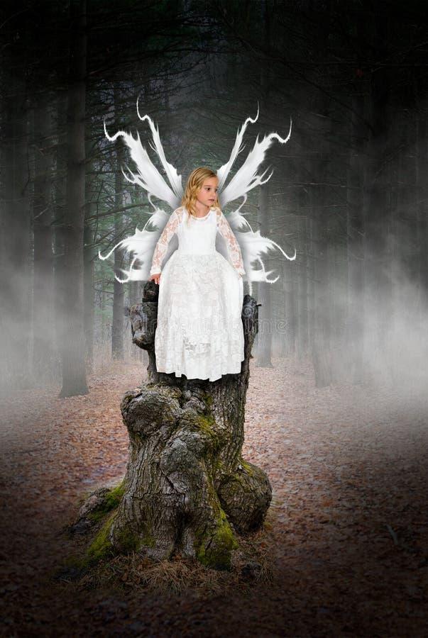 Engel, Fee, junges Mädchen, Fantasie, Spiel, täuschen vor stockfoto