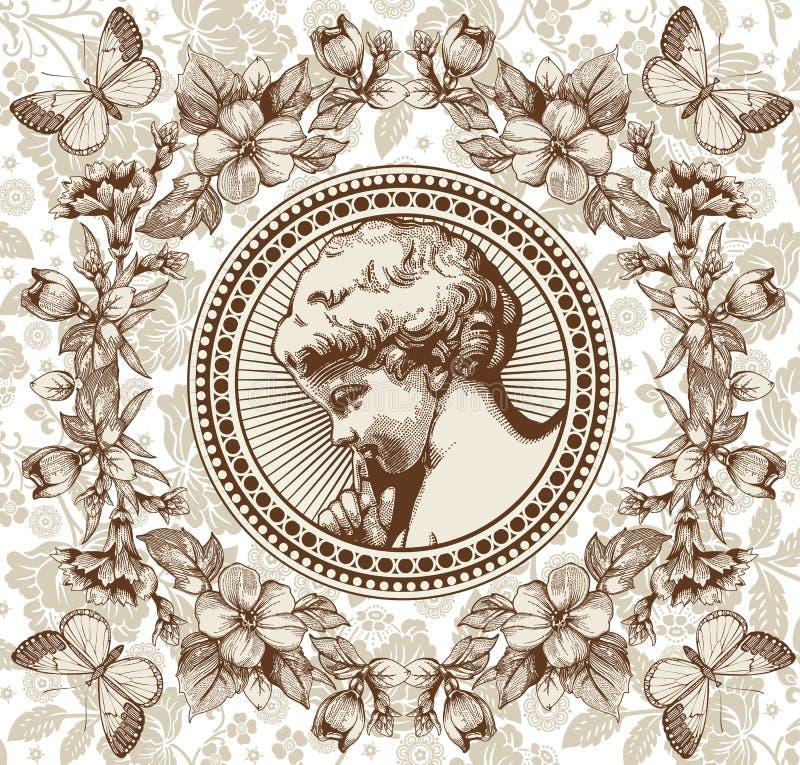 Engel Gebed retro Het kind van de jongensbaby Vlinder royalty-vrije illustratie