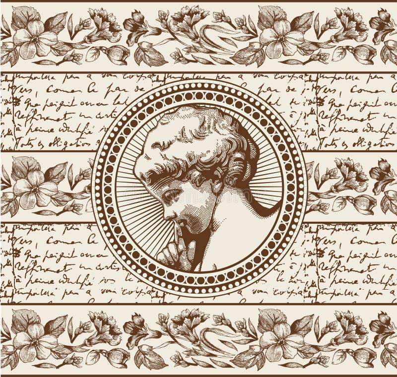 engel Gebet retro Jungenbabykind Feldkarte Zeichnung, Stich stock abbildung