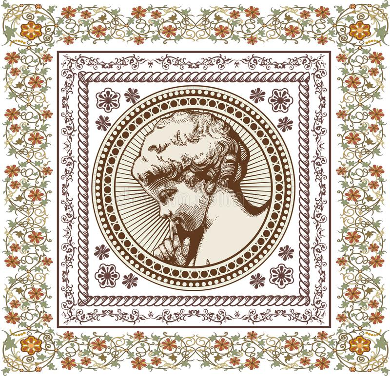 engel Gebet retro Jungenbabykind Feldkarte Zeichnung, Stich Realistische Blumen des Weinlesehintergrundes Auch im corel abgehoben vektor abbildung