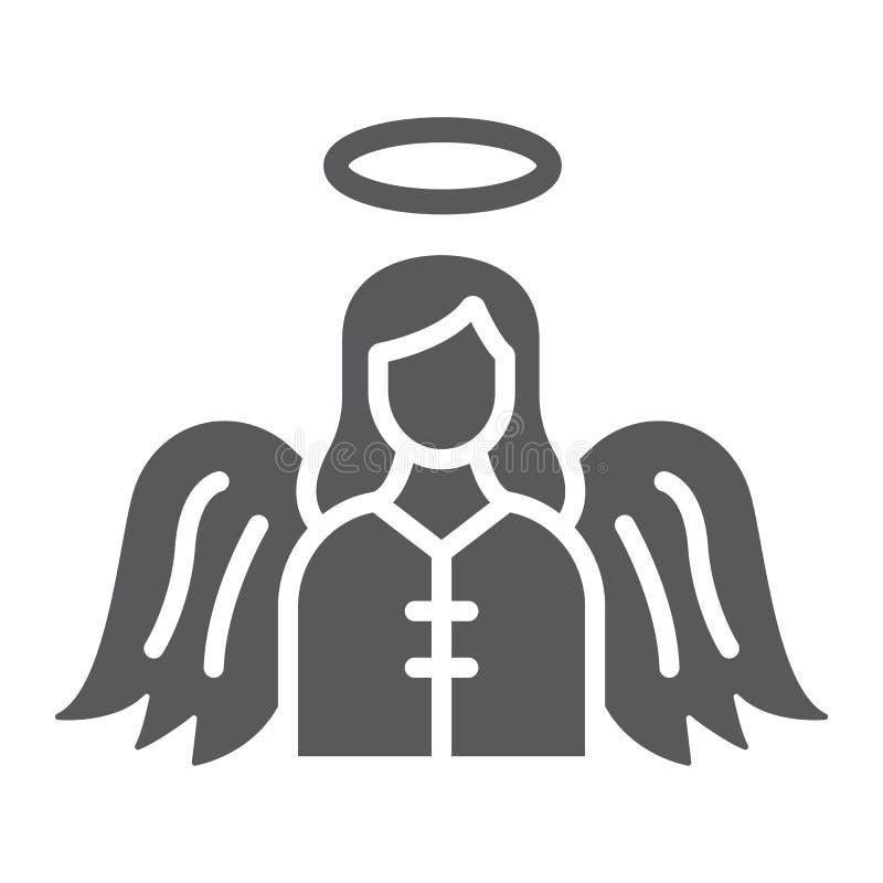 Engel Glyphikone, Religion und Himmel, Charakterzeichen, Vektorgrafik, ein festes Muster auf einem weißen Hintergrund lizenzfreie abbildung