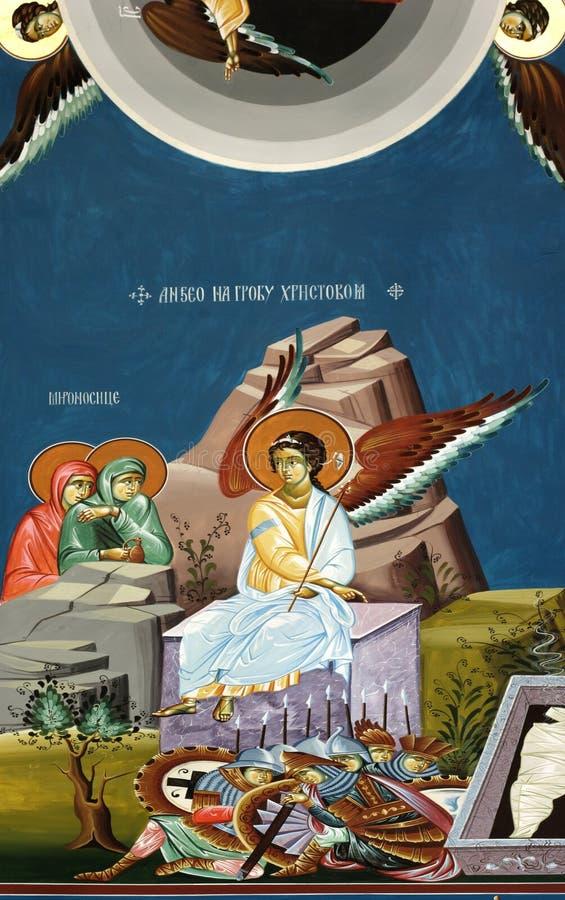 Engel in godsdienstige fresko royalty-vrije illustratie