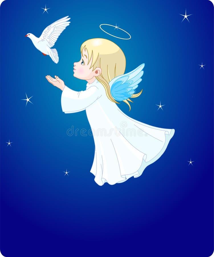 Engel met duif stock illustratie