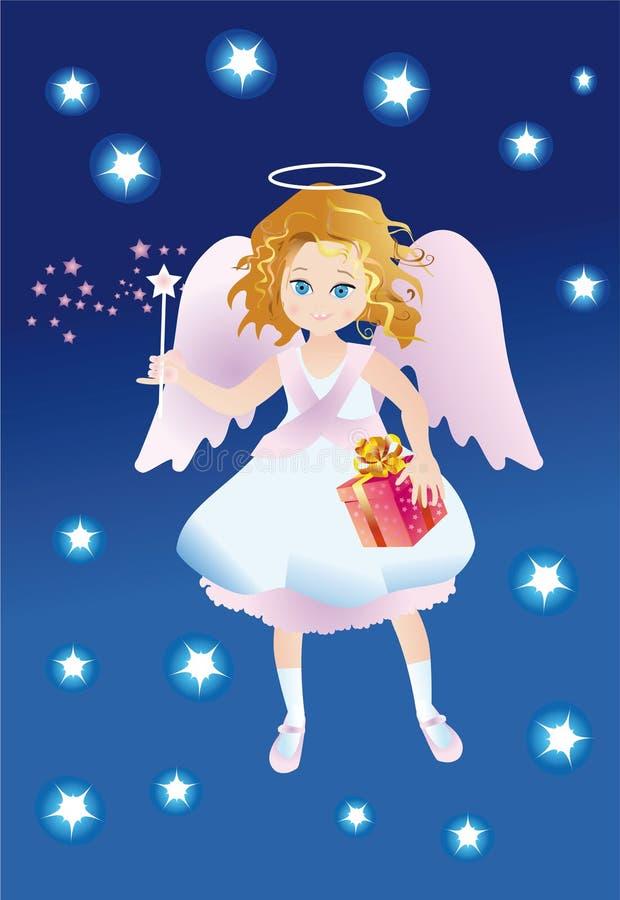 Engel met een gift en een magische stok royalty-vrije illustratie