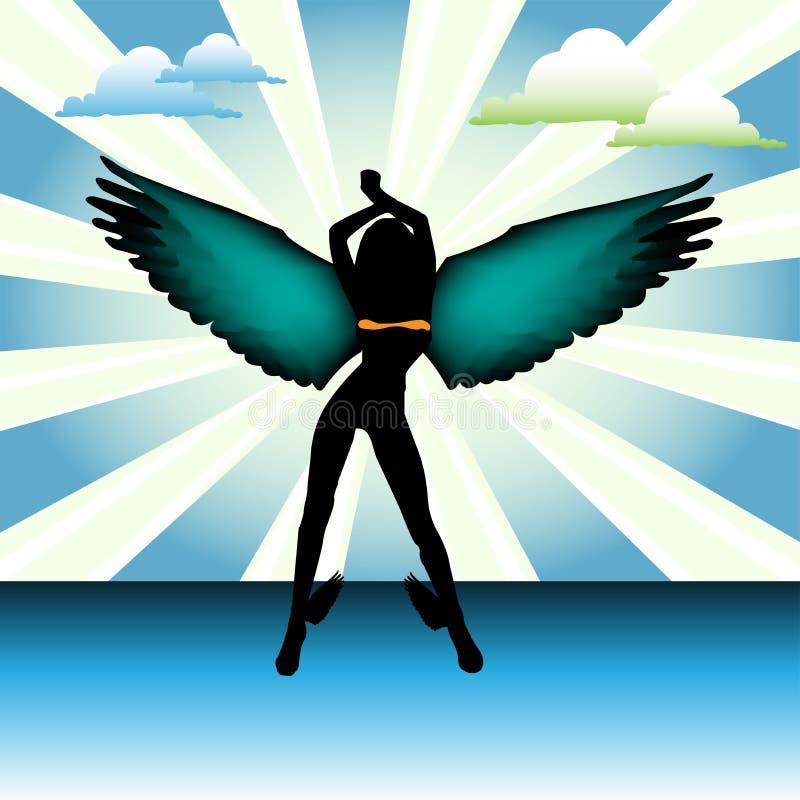 Engel met kleurrijke vleugels stock illustratie