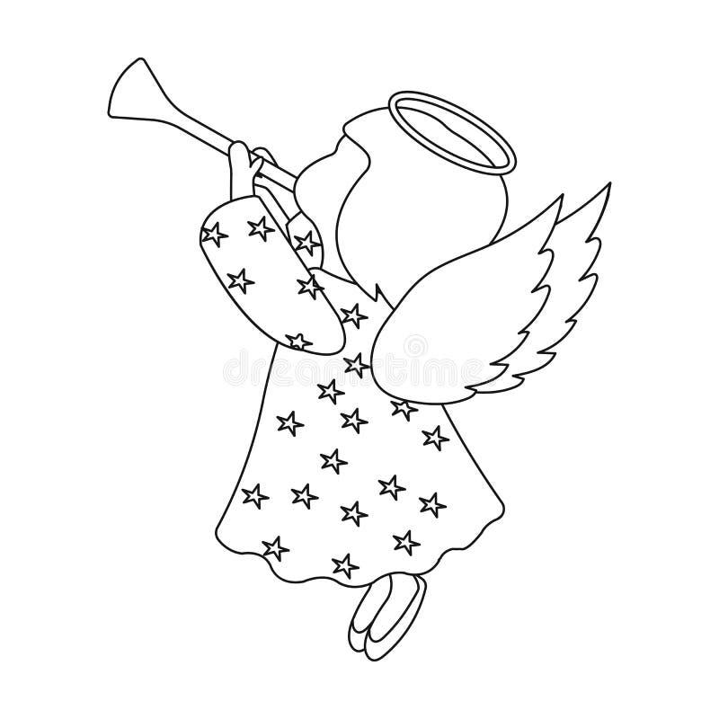 Engel met pijp één enkel pictogram in overzichtsstijl voor ontwerp Web van de de voorraadillustratie van het Kerstmis het vectors vector illustratie