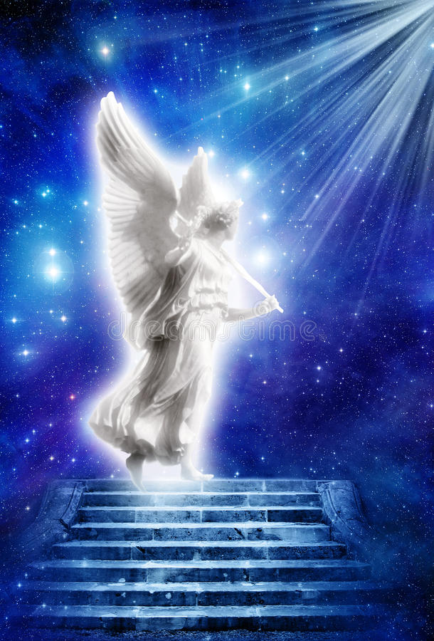Engel met stralen van licht stock fotografie
