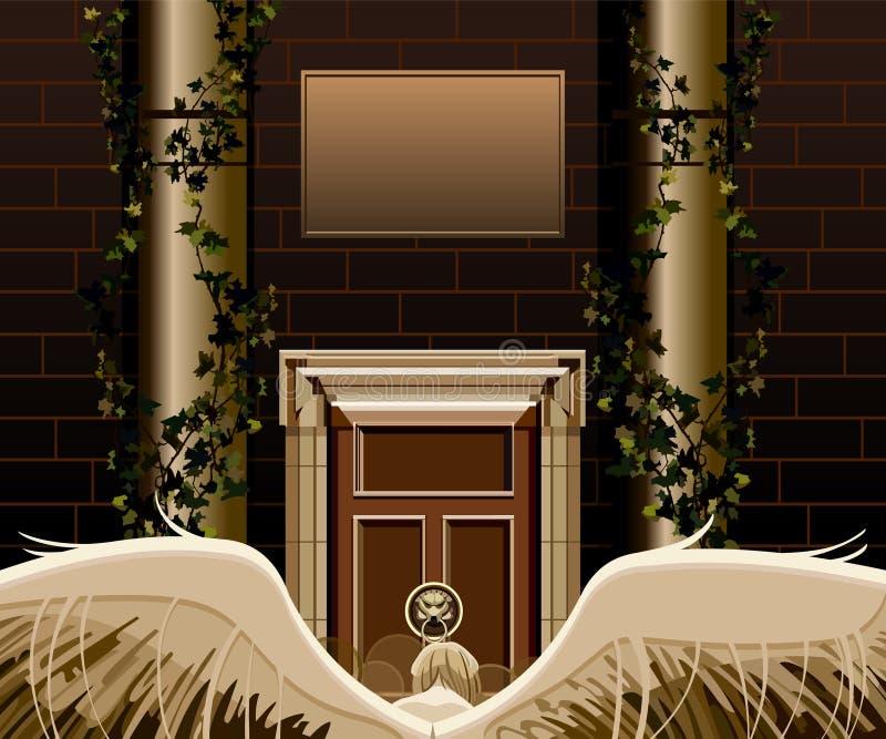 Engel met vleugels die zich voor een deur bevinden stock illustratie