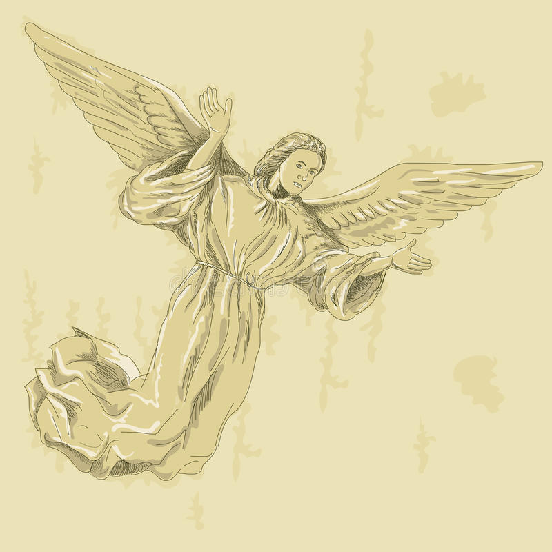 Engel mit Armverbreitung stock abbildung