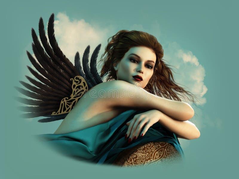 Engel mit Dunkelheit beflügelt 3d CG lizenzfreie abbildung