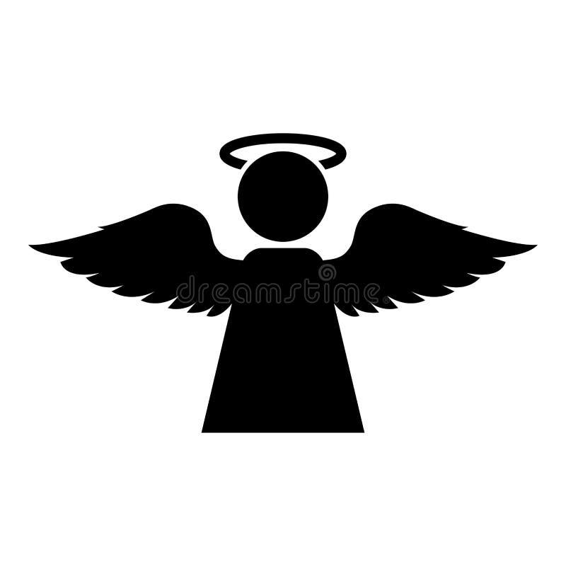 Engel mit flachem Artbild der Fliegenflügelikonenschwarzfarbvektorillustration vektor abbildung