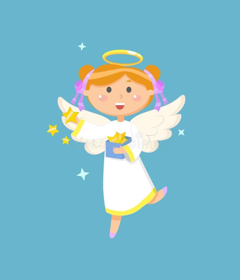 Engel mit Kasten des Stern-Weihnachts- oder Ostern-Symbols vektor abbildung