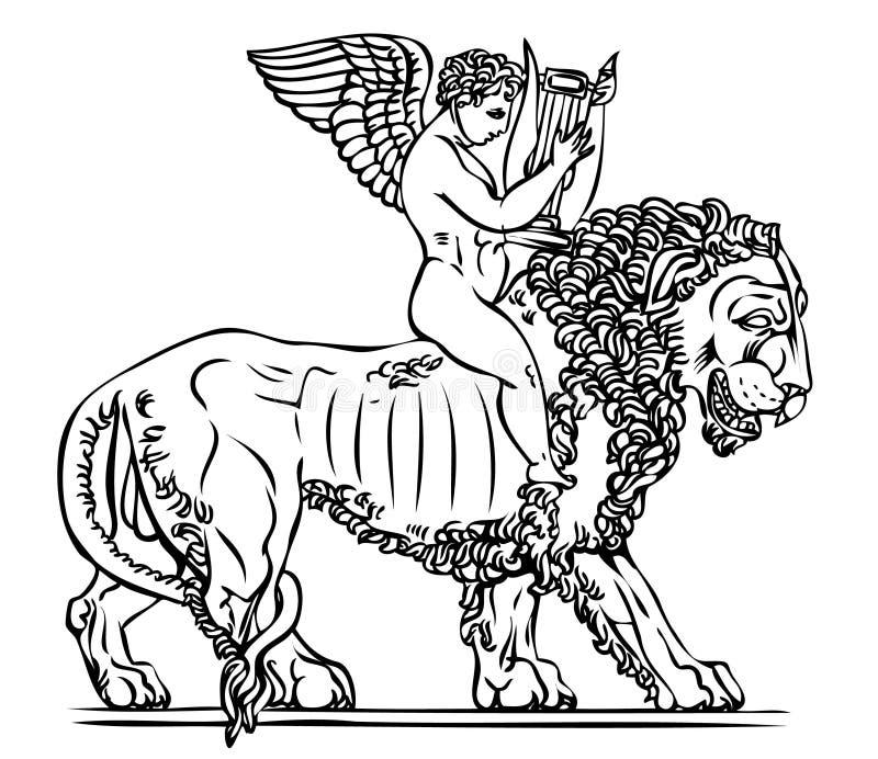 Engel mit Lyre stock abbildung