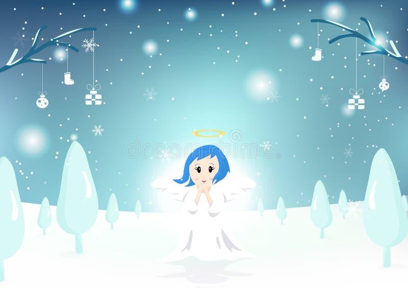 Engel, netter Charakter, frohe Weihnachten, Grußkarte, Schneefall stock abbildung