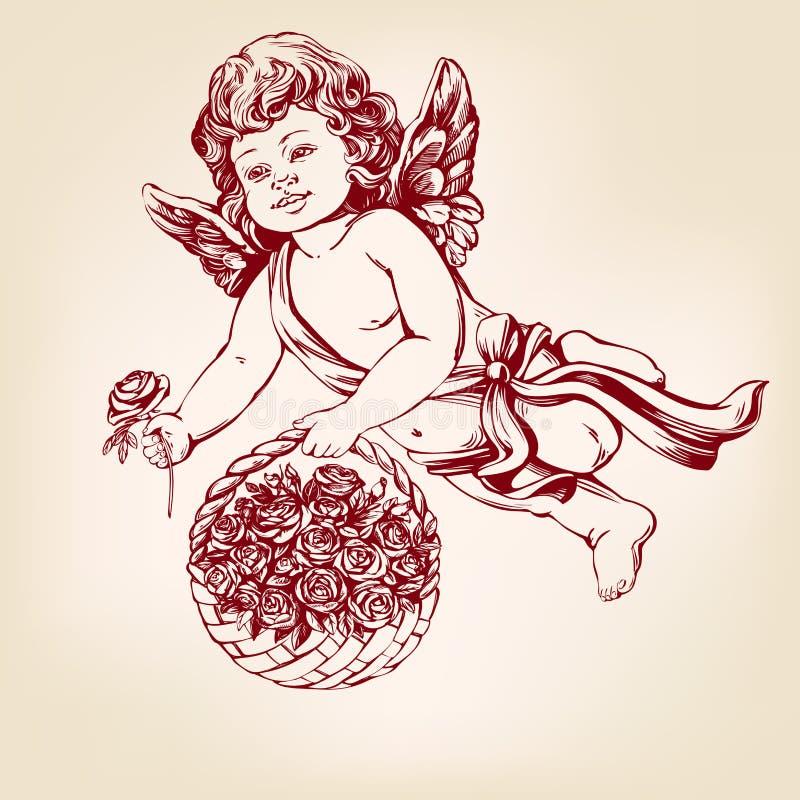 Engel oder Amor, kleine Babyfliege und gibt Blumenrosen gezeichnete Vektorillustration der Grußkarte Hand realistische Skizze lizenzfreie abbildung