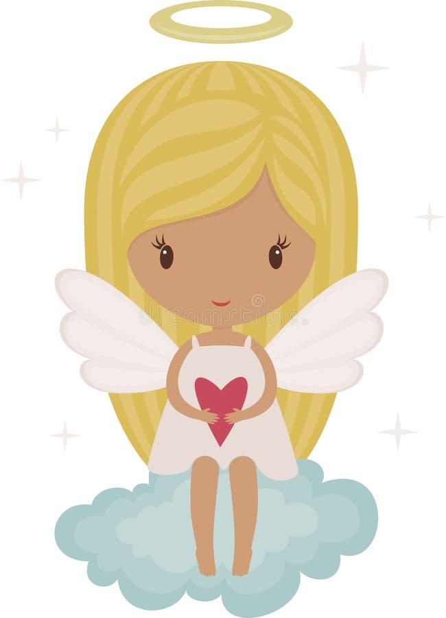 Engel op een wolk royalty-vrije illustratie