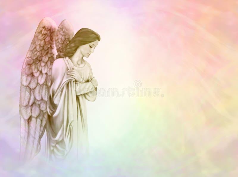 Engel op regenboogachtergrond vector illustratie