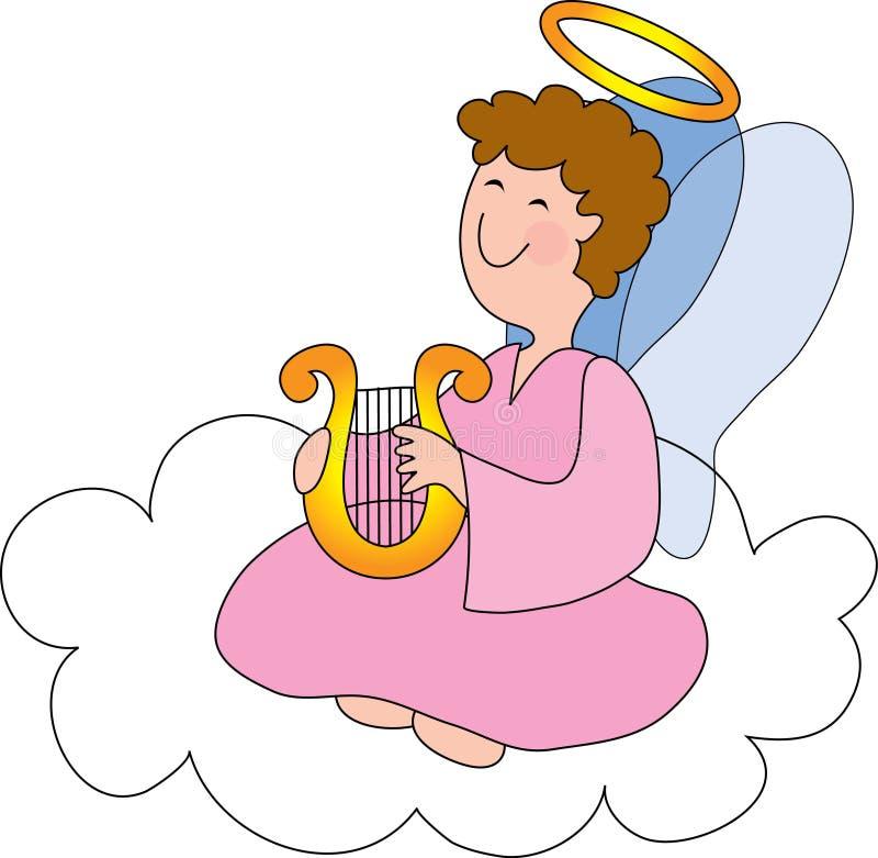 Engel op Wolk met Harp royalty-vrije illustratie