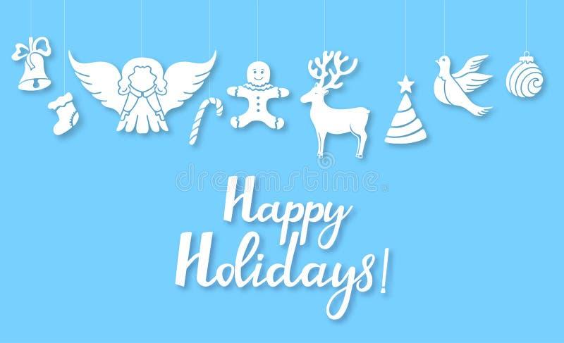 Engel, Rotwild, Lutscher, Lebkuchenmann, Glocke, Taube Dekorationen des neuen Jahres in der Art herausgeschnitten vom Papier Froh vektor abbildung