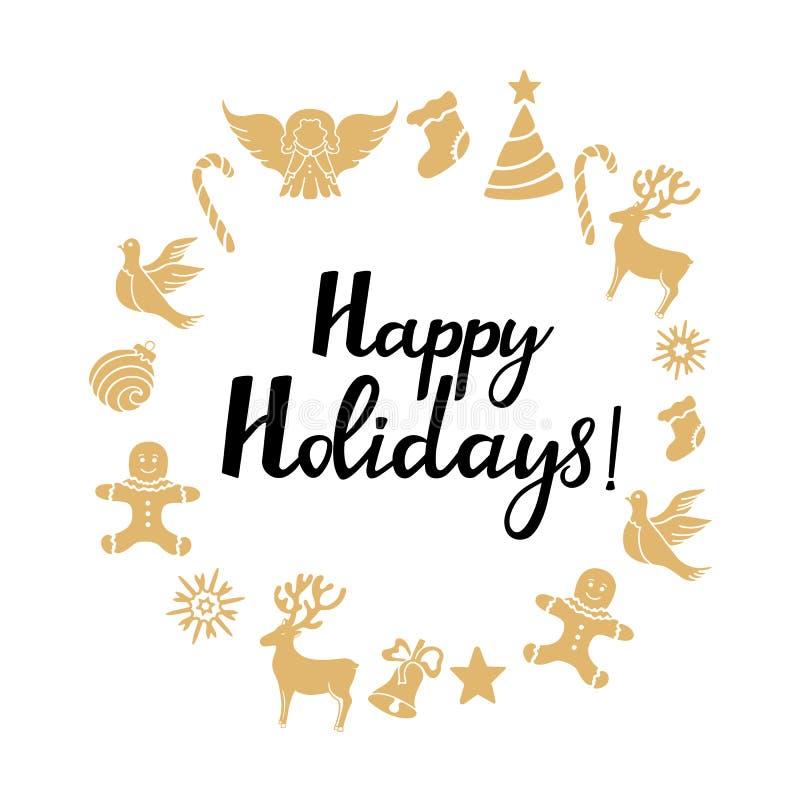 Engel, Rotwild, Lutscher, Lebkuchenmann, Glocke, Taube Dekorationen des neuen Jahres Frohe Feiertage Handbeschriftung Rundes Feld lizenzfreie abbildung