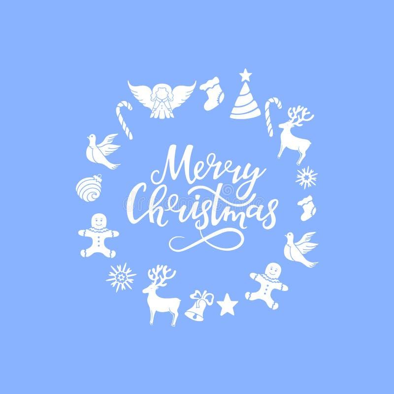 Engel, Rotwild, Lutscher, Lebkuchenmann, Glocke, Taube Neues Jahr ` s Dekor Gezeichnete Beschriftung der frohen Weihnachten Hand  lizenzfreie abbildung