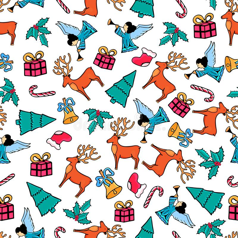 Engel, Rotwild, Mistelzweig, Glocke Weihnachtsnahtloses Muster Festlicher Entwurf für das neue Jahr 2019 in der Gekritzelart vektor abbildung