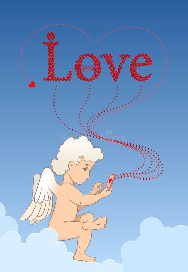Engel sendet Liebesmitteilungen von Ihrem Telefon stock abbildung