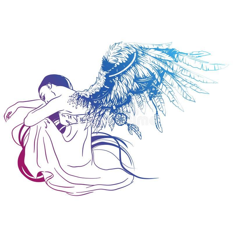 Engel sitzt, seine Flügel faltend vektor abbildung