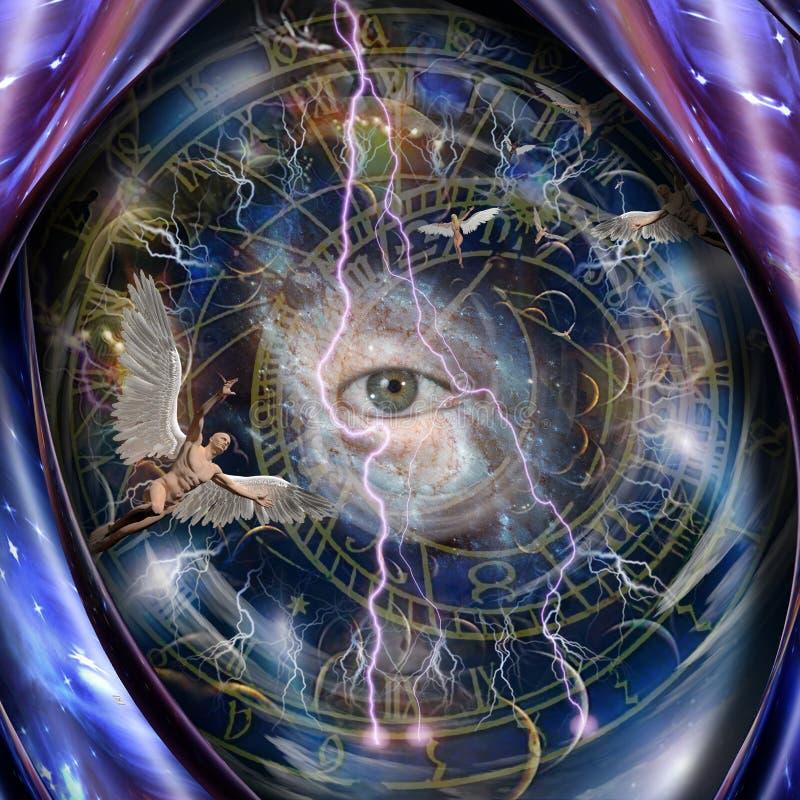 Engel und alles sehende Auge vektor abbildung