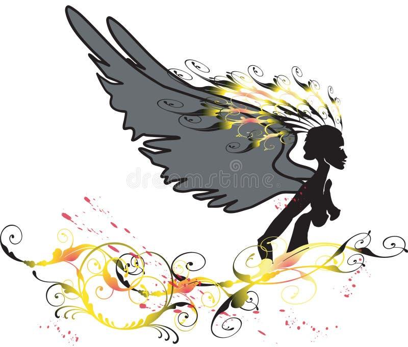 Engel und Blume lizenzfreie abbildung