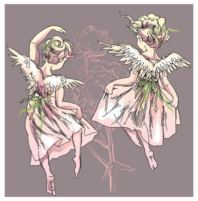 Engel und Blumenvektorillustration stock abbildung