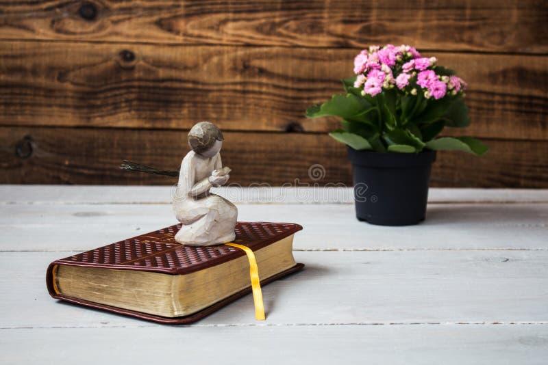Engel und die Bibel lizenzfreie stockbilder