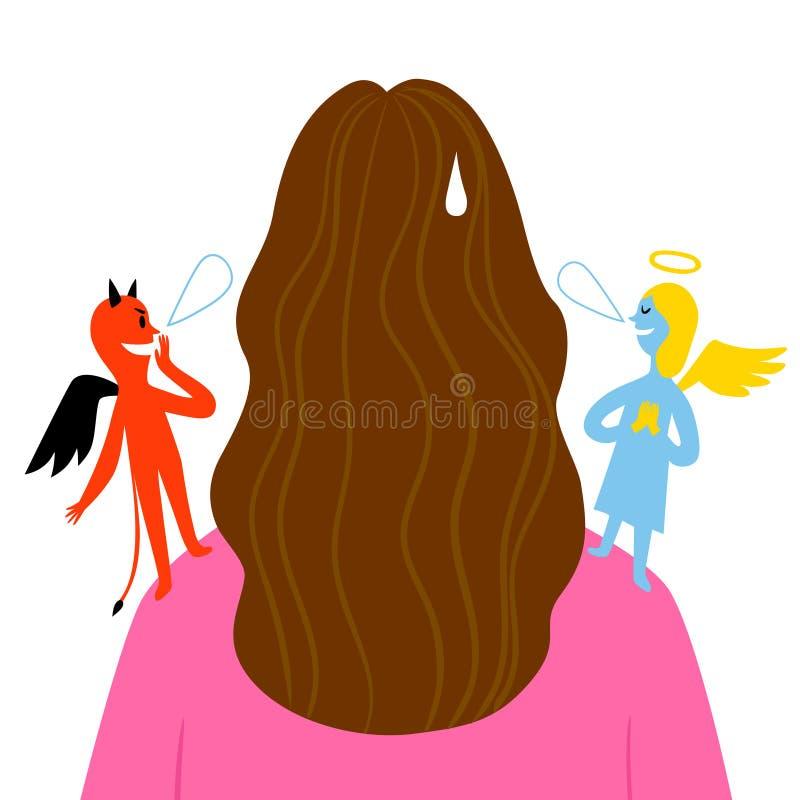 Engel und Teufel auf dem Flüstern auf den Schultern einer Frau vektor abbildung