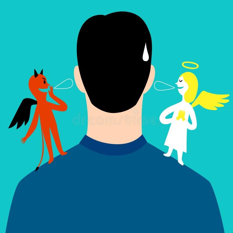Engel und Teufel auf dem Flüstern auf den Schultern eines Mannes vektor abbildung