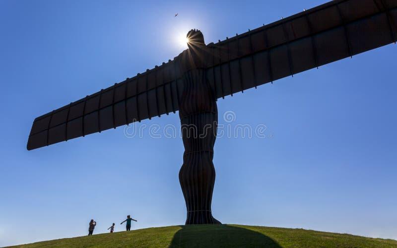 Engel van het het Noordenbeeldhouwwerk door Antony Gormley, Gateshead, Newcastle-upon-Tyne, de Tyne en Slijtage, Engeland, het Ve stock afbeeldingen