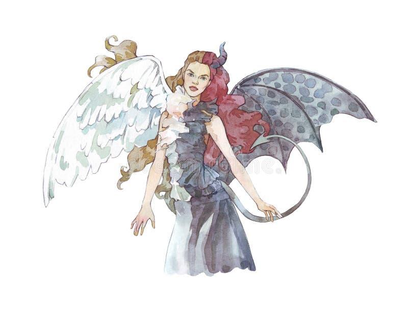 Engel versus de waterverfillustratie van het demonmeisje vector illustratie