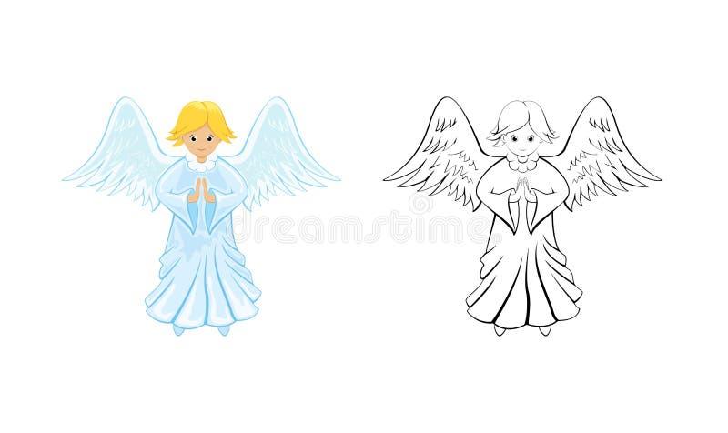 Engel voor het kleuren van boek stock illustratie