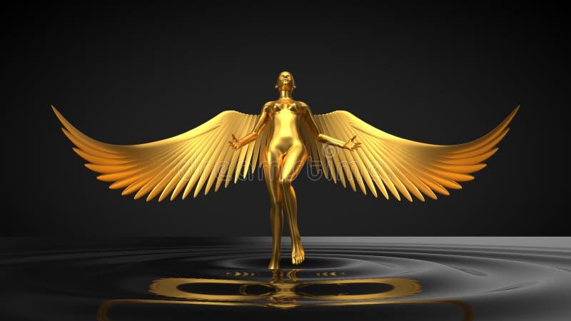 Engelachtig ai concept vrouwelijk karakter die van zwarte vloeistof toenemen 3D Illustratie stock illustratie