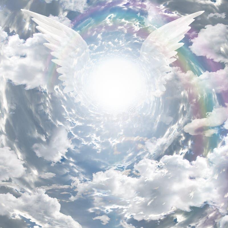 Engelachtige aanwezigheid en tunnel van licht vector illustratie