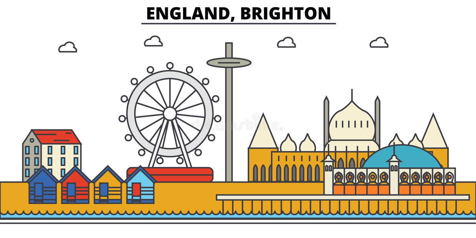 Engeland, Brighton De architectuur Editable van de stadshorizon stock illustratie
