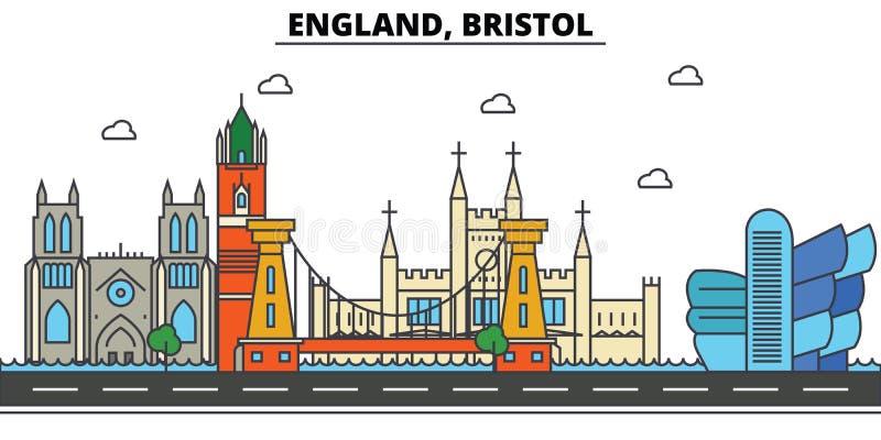 Engeland, Bristol De architectuur Editable van de stadshorizon royalty-vrije illustratie