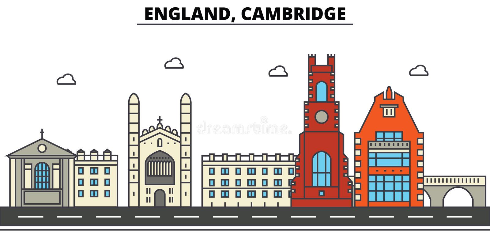 Engeland, Cambridge De architectuur Editable van de stadshorizon stock illustratie