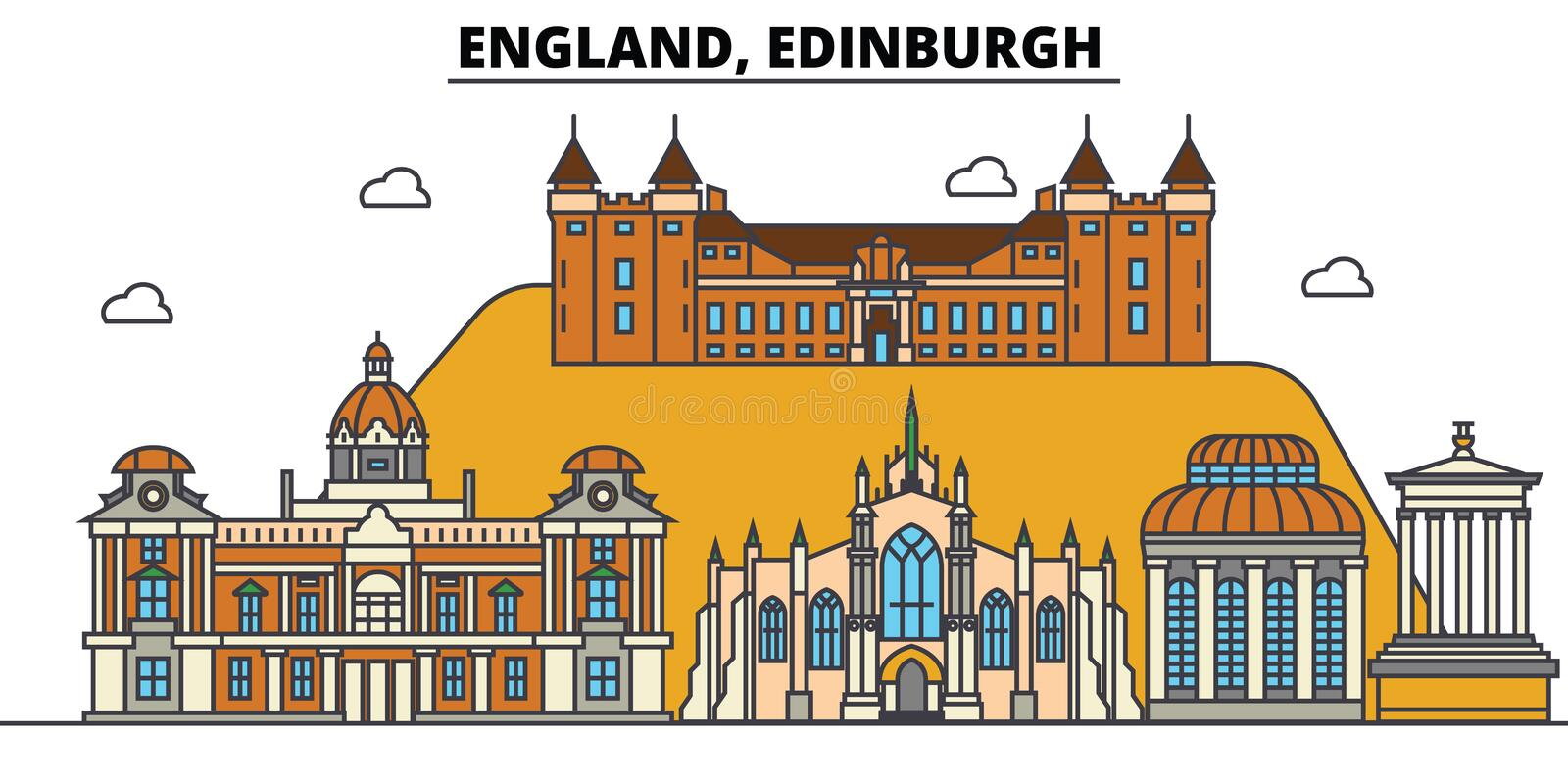 Engeland, Edinburgh De architectuur Editable van de stadshorizon royalty-vrije illustratie