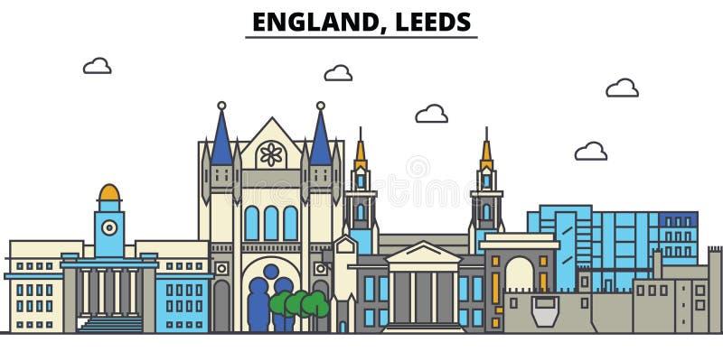 Engeland, Leeds De architectuur Editable van de stadshorizon royalty-vrije illustratie