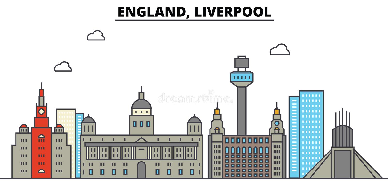 Engeland, Liverpool De architectuur van de stadshorizon editable stock illustratie