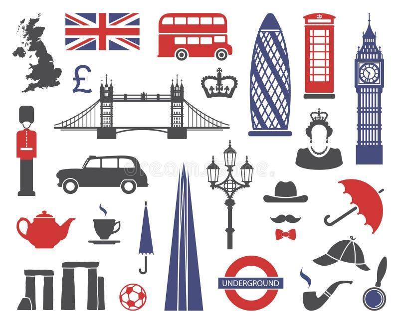 Engeland, Londen, het UK Inzameling van vlakke pictogrammen royalty-vrije illustratie