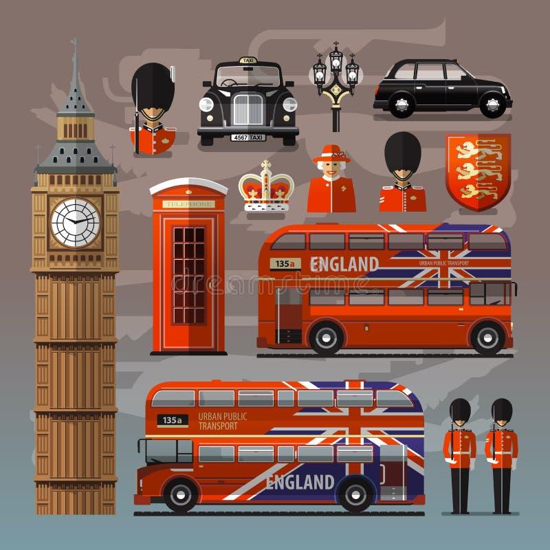 Engeland, Londen, het UK Reeks gekleurde pictogrammen royalty-vrije illustratie